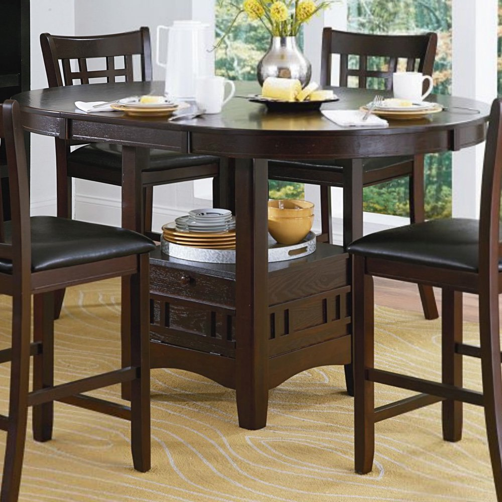 "Weston Home 18"" Leaf Counter Height Table, Dark Cherry"