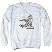 Batman DC Comics Black And White Double Bat Sketch Adult Crewneck Sweatshirt