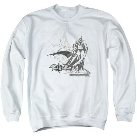 Batman DC Comics Black And White Double Bat Sketch Adult Crewneck (Adult White Crewneck Sweatshirt)