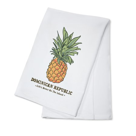 Dominican Republic - Pineapple - Icon - Lantern Press Artwork (100% Cotton Kitchen Towel)