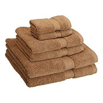 Buckingham Egyptian Cotton 6-Piece Towel Set, 900 GSM, Hotel Quality, Luxury Weight, Long-Staple, Soft, Absorbent, Durable, Rope-Style Border, 2 Bath, 2 Hand, and 2 Face Towels, Latte Dual Band Gsm 900 1800