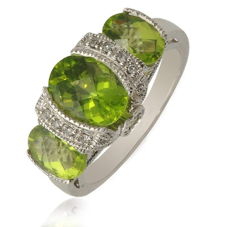 Peridot and Diamond Oval and Round Shape Milgrain Work Engagement Ring 3.50 ct tw 10K White Gold.size (1.05 Ct Tw Round Diamonds)