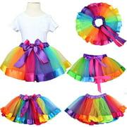 Cathery Baby Girls Rainbow Tutu Skirt Costume Ballet Tulle Pettiskirt Bow Dancewear