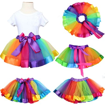 Toddler Baby Girls Kids Lovely Colorful Tutu Skirt Girls Rainbow Tulle Tutu Mini - Party City Rainbow Tutu