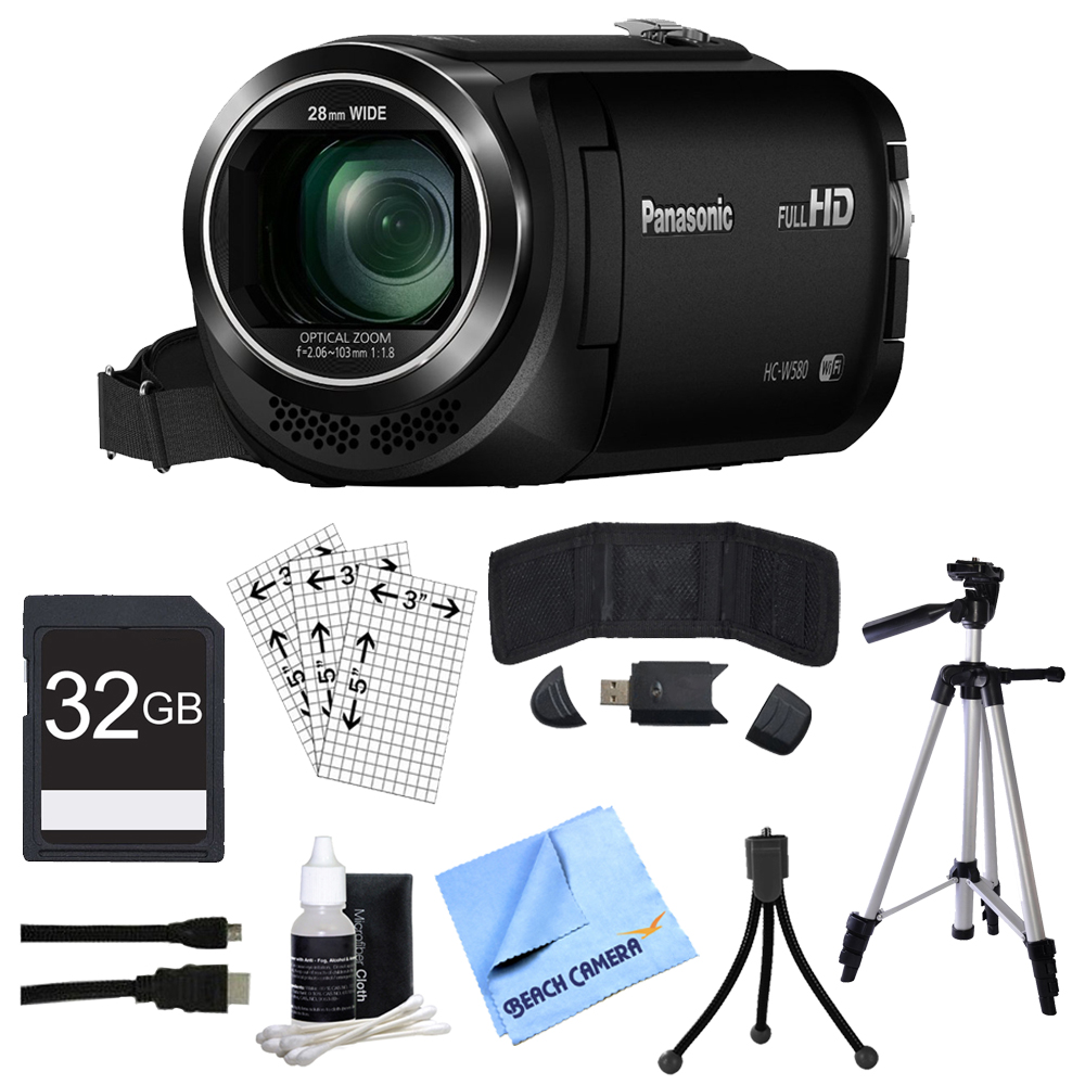 "Panasonic HC-W580K Full HD Camcorder w/Wi-Fi, Built-in Multi Scene Twin Camera - Black w/Bundle Includes, 32GB High Speed Memory Card, 57"" Full size Tripod & 6' High Speed mini-HDMI to HDMI A/V C"