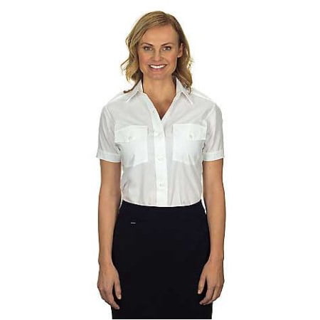Van Heusen Pilot Shirt (Van Heusen Women's Aviator Pilot Shirt - Short Sleeve, White, 24)