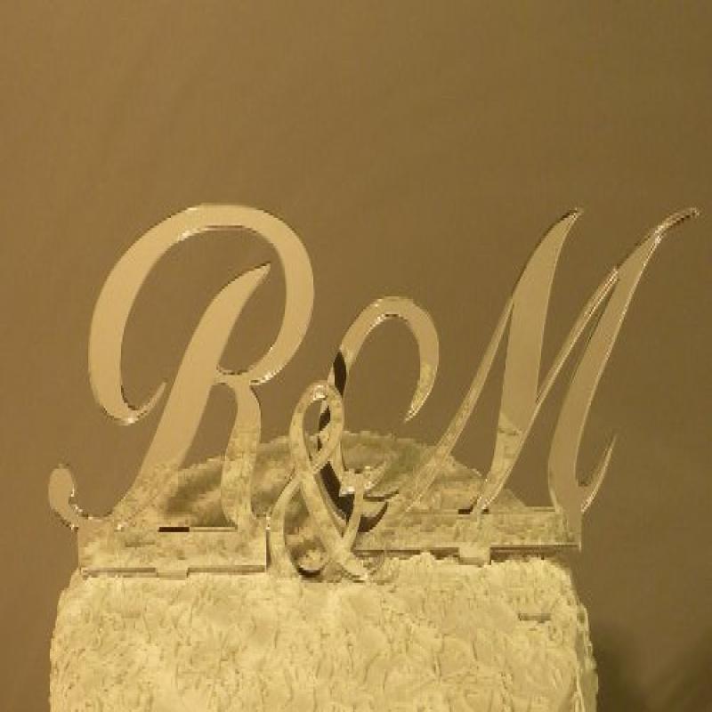 "Monogram Wedding Cake Topper Set - ANY TWO 4"" TALL LETTER..."