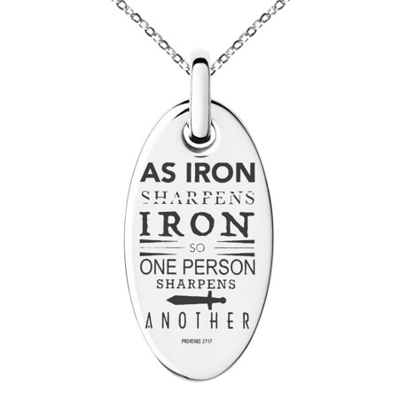 Stainless Steel As Iron Sharpens Iron Proverbs 27:17 Engraved Small Oval Charm Pendant Necklace (World Imports Iron Pendant)