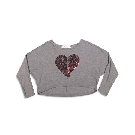 Vintage Havana - Big Girls Long Sleeve Cropped Top grey red heart / 14 (Girls Size 10 Crop Top)