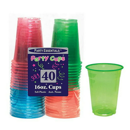 1 - Party Essentials 16 Oz. Soft Plastic Cups - Assorted Neons 40 Ct.