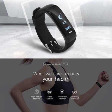 Fitness Tracker h Smart Bracelet Heart Rate Monitor Blood Pressure Sports Pedometer Waterproof Smart Band For Android iOS iPhone Xs/Xs Max/XR/X/8 Plus/8 - image 3 de 5