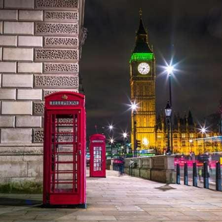 Telephone box with Big Ben London Uk Canvas Art - Assaf Frank (24 x 24)