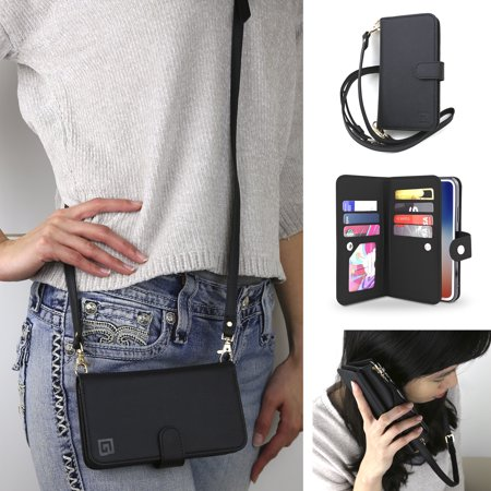 Crossbody Cell Phone Case and Wallet Compatible with iPhone Xr, Dual Folio Slim Wallet Case Flip Folio with Seven Card Slots Including Transparent ID Holder and 48 to 52 Inch Strap