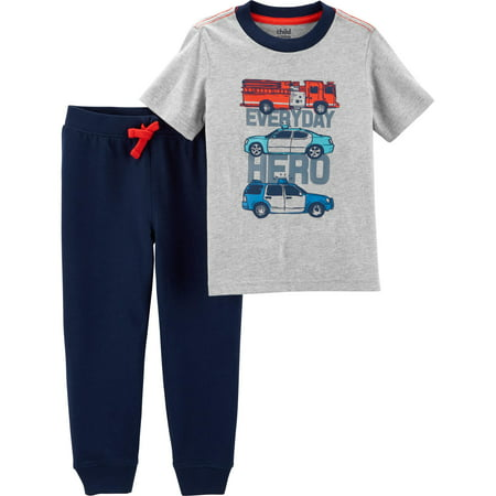 Child of Mine by Carter's Short Sleeve Graphic T-Shirt & Jogger Pants, 2-Piece Outfit Set (Toddler - 1960s Outfits