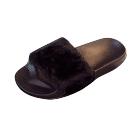 Tuscom Womens Ladies Slip On Sliders Fluffy Faux Fur Flat Slipper Flip Flop Sandal
