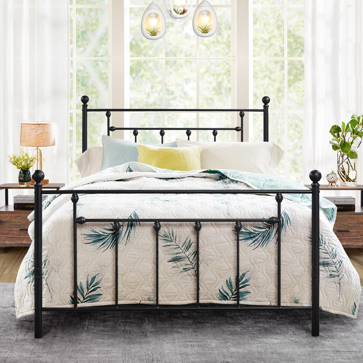 Picture of: Antique Queen Size Bed Frame Platform Bed With Victorian Iron Headboard Slats Support Walmart Com Walmart Com