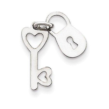 Gold Polished Lock Charm - 14k White Gold Polished Lock & Key Charm