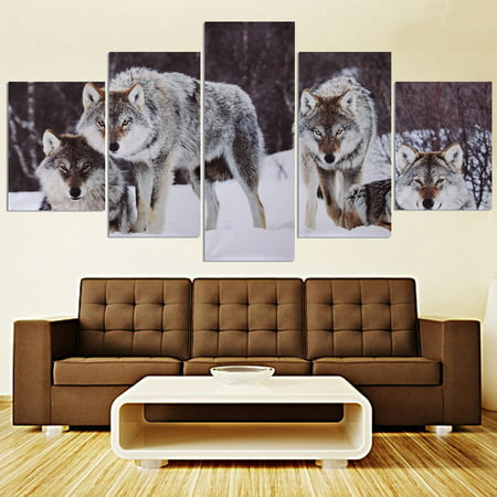 Unframe 5Pcs Modern Abstract Snowfield Wolf Picture Canvas Oil Painting Picture Prints Home Wall Decor Gift