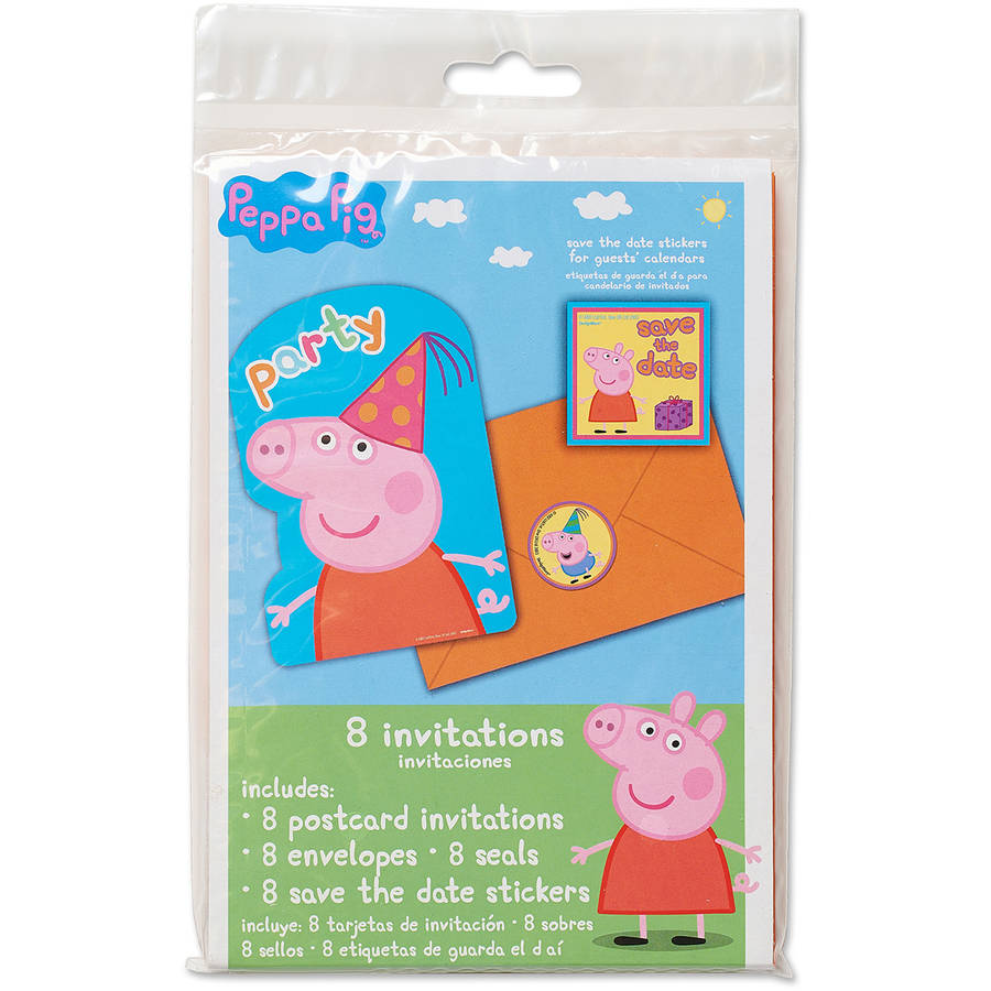 Peppa Pig Invitations, 8 Count, Party Supplies