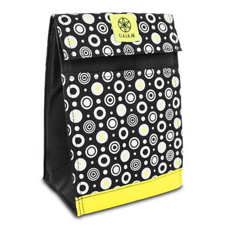 Lunch Bags, Fabric Yellow Circles Front Slip Pocket Reusable Lunch Bag Tote Front Slip Pocket