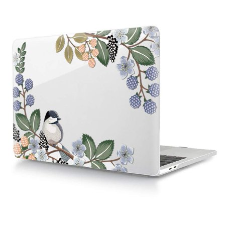 HRH Hand Painted Bird Clear Glossy Design Laptop Body Shell Protective Hard Case for Apple MacBook Newest Air 13