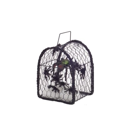 Set of 2 Black Metal Cage with Spiders Halloween Decoration 8.25