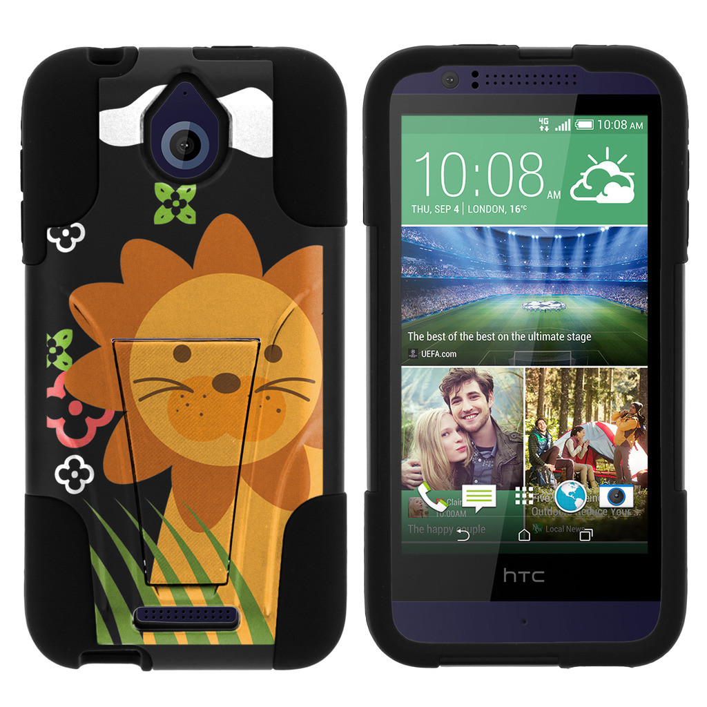 HTC Desire 510 STRIKE IMPACT Dual Layer Shock Absorbing Case with Built-In Kickstand - Cute Little Lion