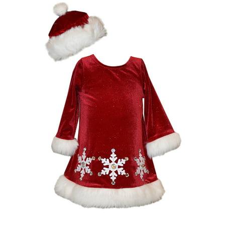 Santa Dress Girl (Bonnie Jean Girl Red Velour Santa Snowflake Dress with HAT 12)