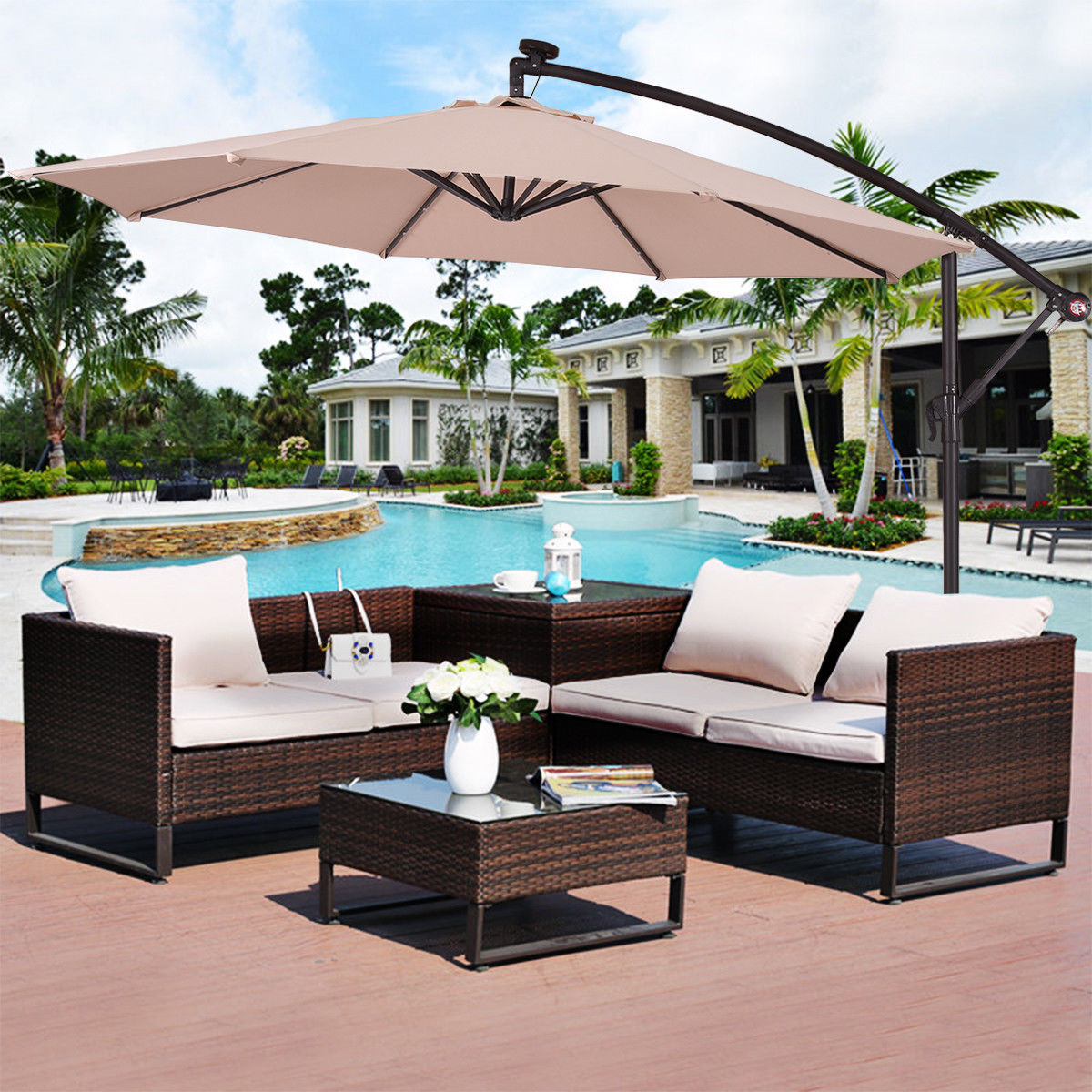 Costway 10' Hanging Solar LED Umbrella Patio Sun Shade Offset Market W Base Beige by Costway