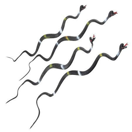 """24"""" Black and White Stripes Wiggly Vinyl Snake – 12 Pieces, Hissing Tongue, Goody Bag Filler, Halloween Prop, April Fool's, Science & Nature, Forest Themed Party Supply, Natural Rodents Repellent"""