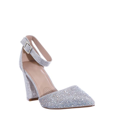 Songful7 by 2, Rhinestone Chunky Block Heel Pump - Womens Dressy Ankle Strapped Shoe Womens Two Strap