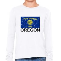 Oregon State Flag - Special Vintage Edition Girl's Long Sleeve T-Shirt