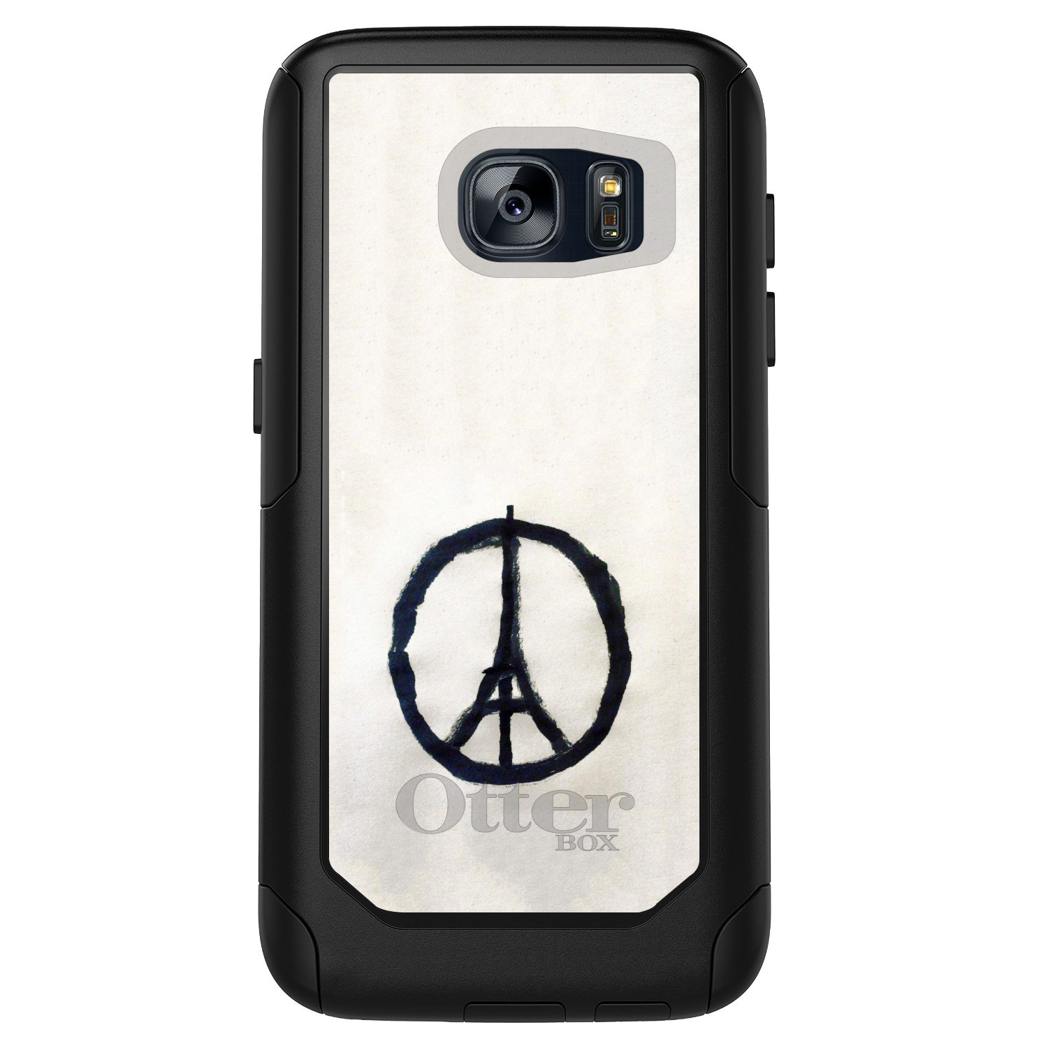 DistinctInk™ Custom Black OtterBox Commuter Series Case for Samsung Galaxy S7 - Paris Peace Symbol