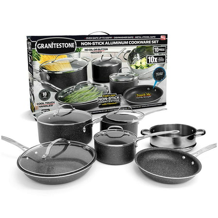 Granite Stone 10-Piece Nonstick Pots and Pans Cookware Set, Ultimate Durability and Nonstick with Mineral & Diamond Triple Coated, Dishwasher - Granite Sphere