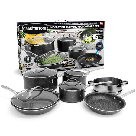 Granite Stone 10-Piece Nonstick Pots and Pans Cookware Set, Ultimate Durability and Nonstick with Mineral & Diamond Triple Coated, Dishwasher