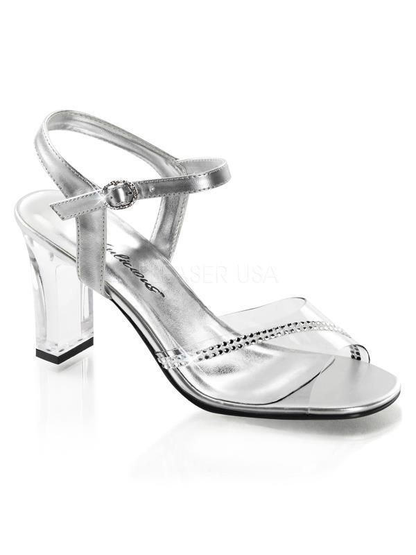 "ROM308R/C-SMPU Fabulicious Shoes 3 1/4"" Romance Clr-Slv Met Pu Size: 7"