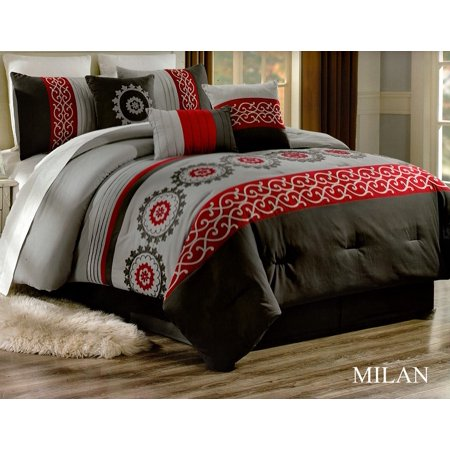 Unique Home Milan Comforter 7 Piece Bed Set Ruffled Bed In A Bag Clearance bedding Comforter Duvet Fade Resistant, Super Soft, Calking, Gray/Red/Black ()
