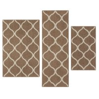Mainstays Machine Washable Sheridan Fret Accent Rug Set, Caf, 3-Piece