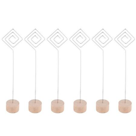 School Office Wooden Rhombus Design Table Decor Picture Card Note Memo Clip 6pcs