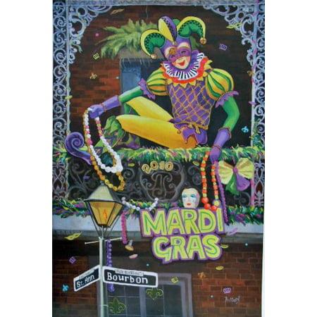 JESTER Mardi Gras Baltas 2010 Art Bourbon Street & Saint Ann, Jester- By New Orleans (Bourbon Street New Orleans Halloween)