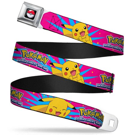 Poke Ball Full Color Black Pokemon Logo Pikachu Happy Poses Starburst Pinks Seatbelt Belt