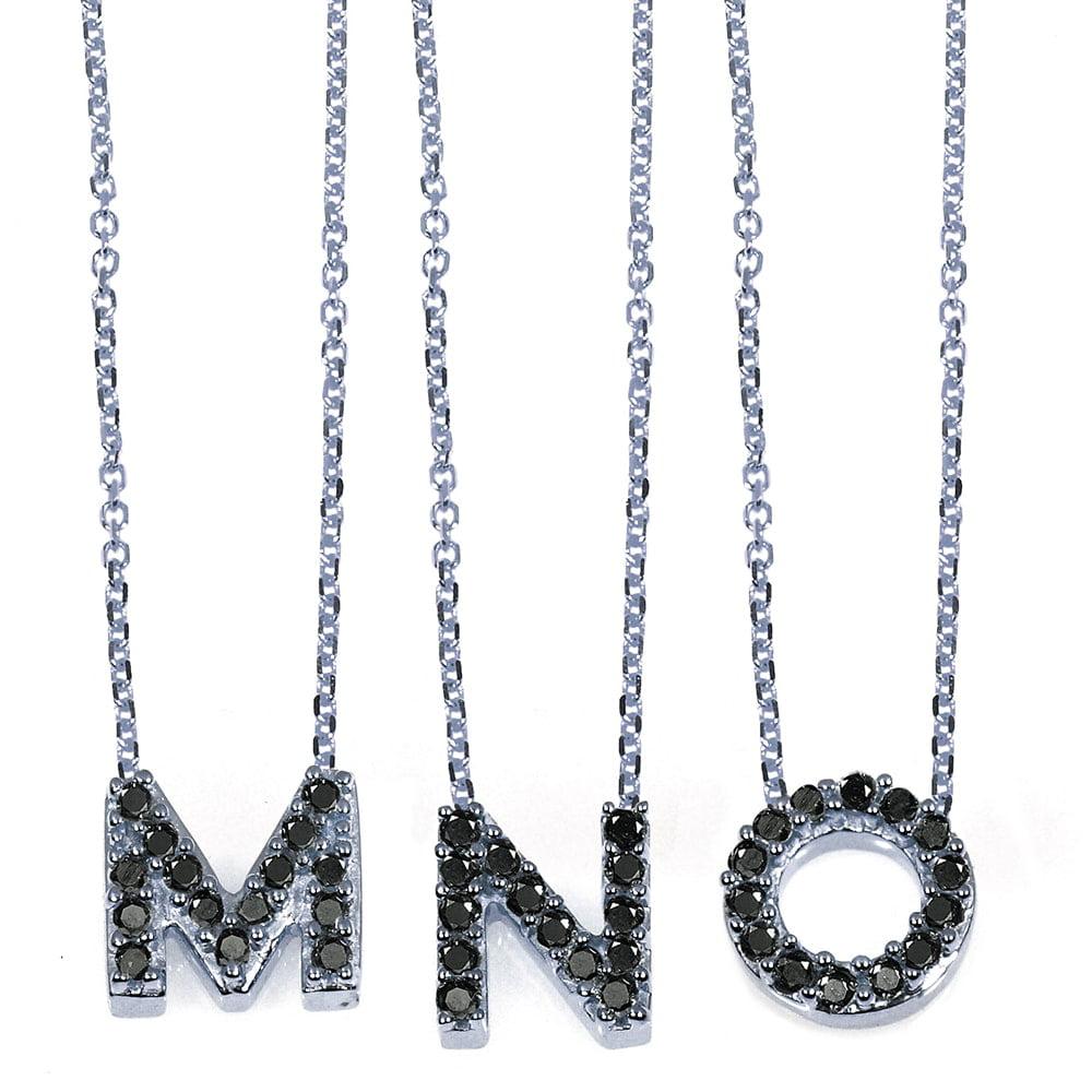 Annello  by Kobelli 10k White Gold Black Diamond Accent Mini Initial Letter Necklace