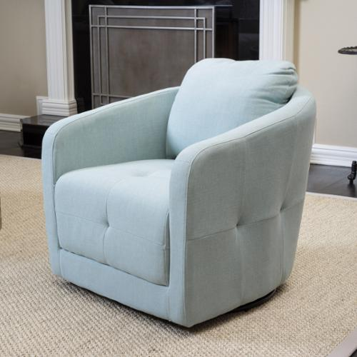 Christopher Knight Home Concordia Fabric Swivel Chair Light Blue
