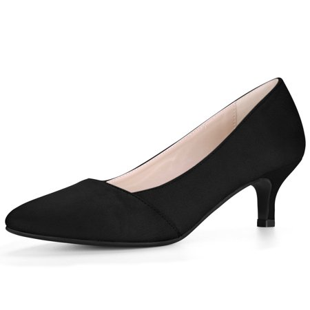 Unique Bargains Women's Pointed Toe Slip On Kitten Heel Classic Pumps