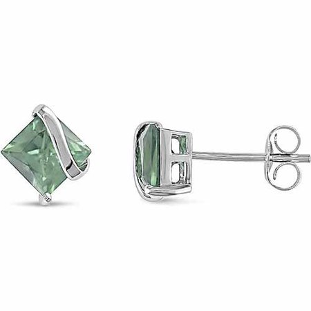 2-1/4 Carat T.G.W. Square-Cut Green Amethyst Sterling Silver Swirl Earrings