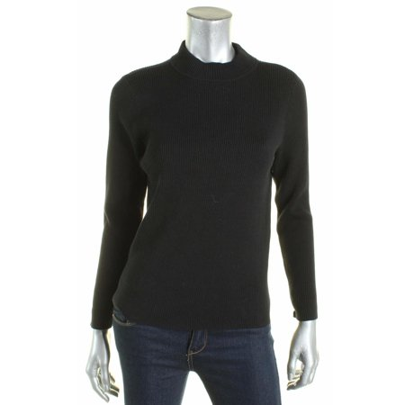 Karen Scott Womens Petites Ribbed Mock Turtleneck Pullover Sweater