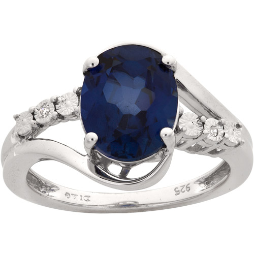 3.15 Carat T.G.W. Ceylon Sapphire and Diamond-Accent Ring in Sterling Silver, Size 7