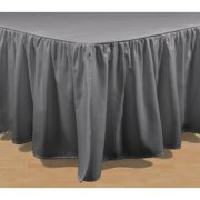 Brielle Stream Solid Color Bed Skirt Queen Bed Skirt, Grey