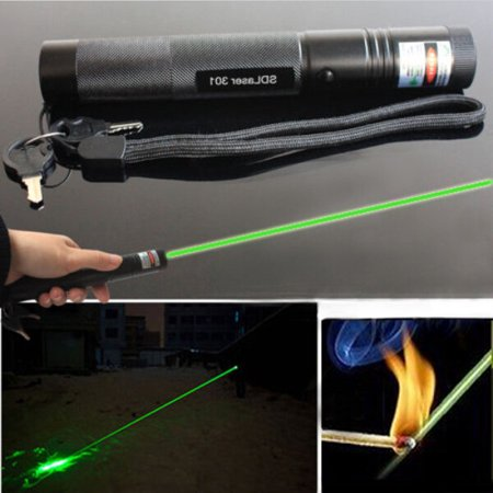 G301 Adjustable Focus Burn 5mw 532nm Green Laser Pointer Pen Lazer Visible Beam with (5 Mw Green Laser Pen)