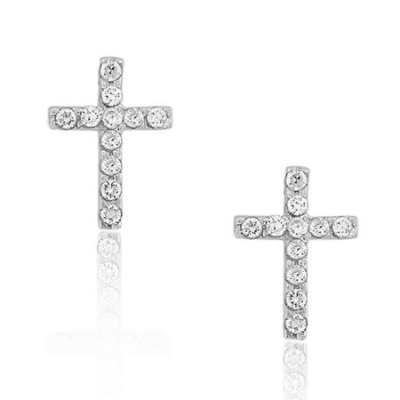 925 Sterling Silver White CZ Womens Religious Latin Cross Stud Earrings Cross 925 Sterling Silver Stud